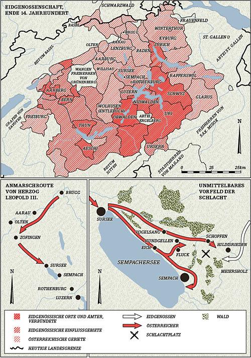 карта на битката при езерото земпах
