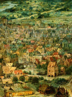 Голямата Вавилонска кула на Питер Брюгел детайл градът