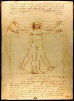 Витрувианският човек - цялата скица
